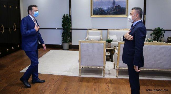 Cumhurbaşkanı Yardımcısı Fuat Oktay, TOBB Başkanı Rifat Hisarcıklıoğlu ve TEPAV Direktörü Güven Sak'ı kabul etti