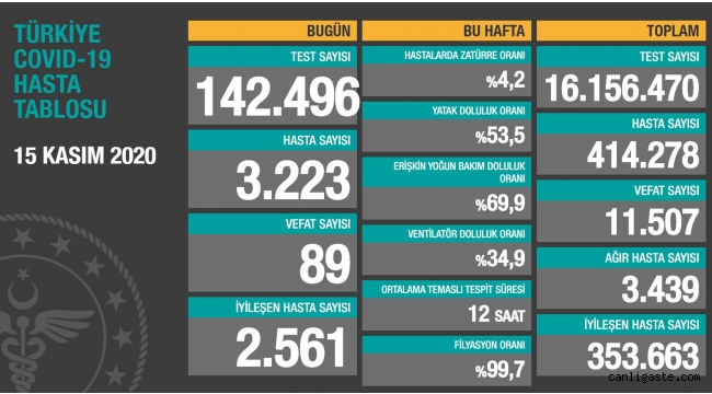 15 Kasım'da Türkiye'de korona virüs salgınından son 24 saatte 89 kişi hayatını kaybetti
