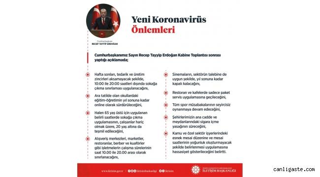 Cumhurbaşkanı Erdoğan açıkladı! Yeni Koronavirüs önlem ve kısıtlamaları