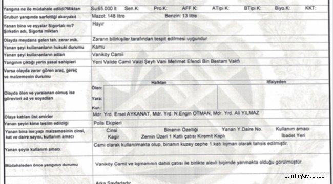 Vaniköy Camisi'ndeki yangının elektrik tesisatından kaynaklandığını bildirildi
