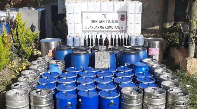 Kırklareli'nde 2 bin litre kaçak içki ele geçirildi