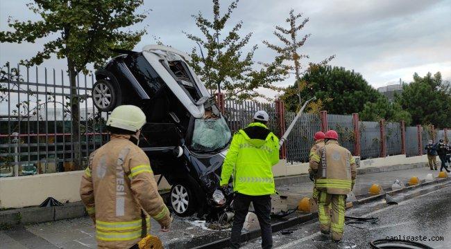 Kontrolden çıkarak takla atan otomobilin sürücüsü yaralandı