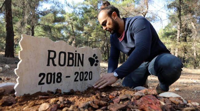 Ölen köpeğini üniversitenin desteğiyle kampüste yaptırdığı mezara gömdü