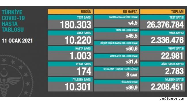 11 Ocak'ta Türkiye'de son 24 saatte 174 can kaybı, 10 bin 220 yeni vaka