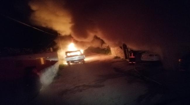 Muğla'da tüfekle vurulan kişinin kundaklandığı öne sürülen araçlarındaki yangın söndürüldü