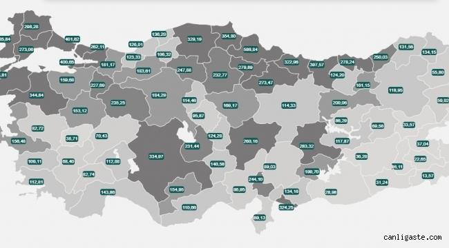 İllere göre haftalık vaka sayısı haritası açıklandı (20-26 Mart)