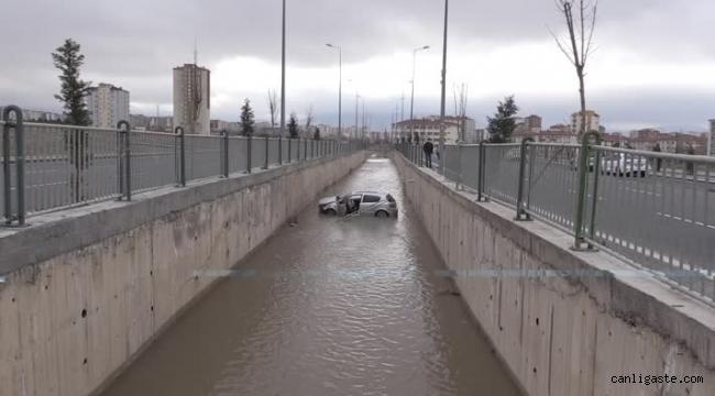 Kayseri'de su kanalına devrilen aracın sürücüsü yaralandı