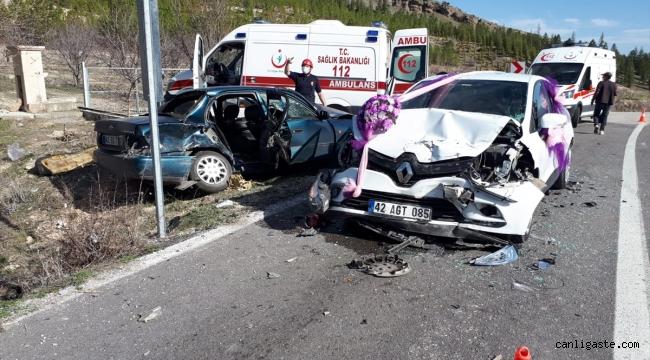 Gelin arabasının da karıştığı zincirleme trafik kazasında: 7 yaralı