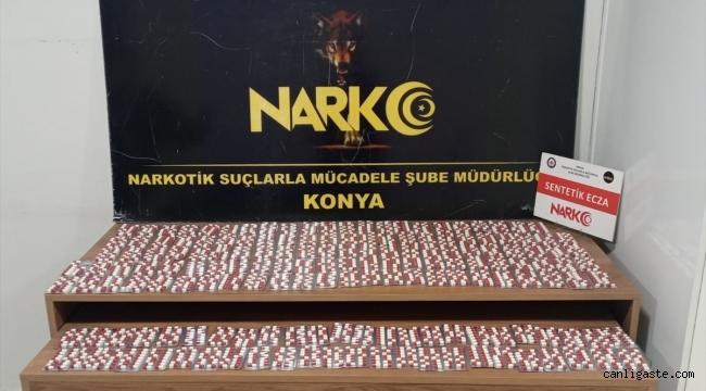 Konya'da 2 bin 545 sentetik ecza hapa 2 gözaltı