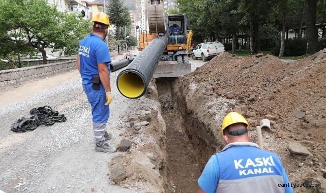 Kayseri'de yağmur suları kanalizasyon hattından ayrılıyor