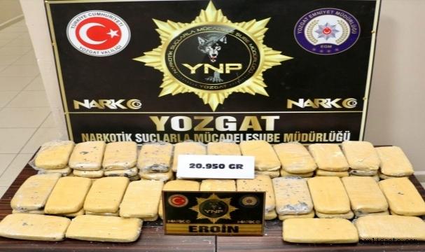 Yozgat'ta 20 kilo 950 gram eroin ele geçirildi