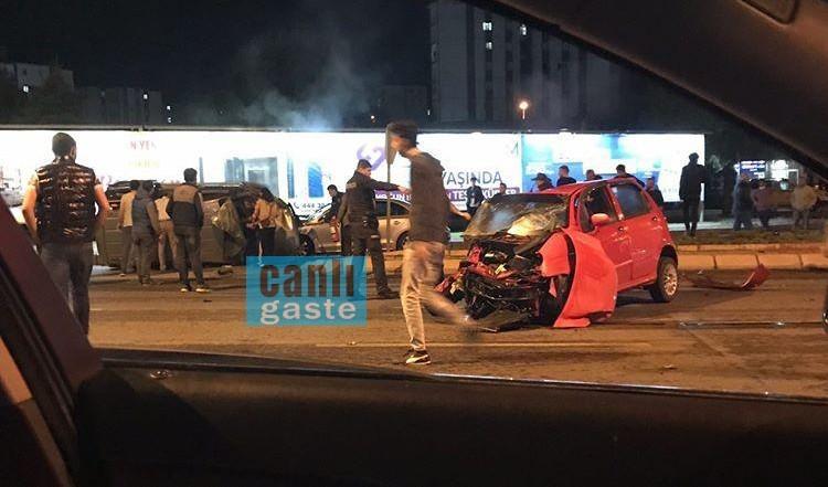 Kayseri'de feci kaza! 2 otomobil kafa kafaya çarpıştı! 1 ölü 5 kişi yaralı